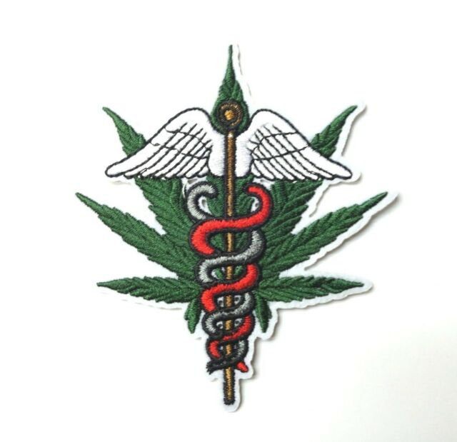 RED CADUCEUS//Iron On Embroidered Applique//Nurse MEDICAL PROFESSION Medic