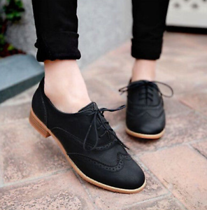 Brogue-Women-Retro-Lace-Up-Wing-Tip-Oxford-College-Style-Flat-Causal-Shoes-E609