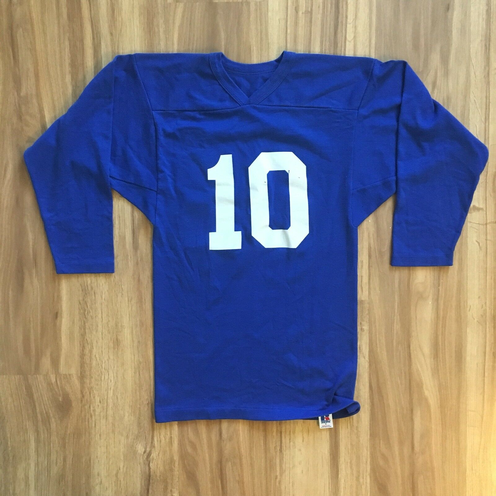 VINTAGE 80s Russell Athletic bluee White Gusseted Blank Football Jersey 10 S