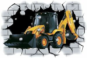 Huge-3D-JCB-3CX-Digger-Crashing-through-wall-View-Wall-Sticker-Mural-Decal-81