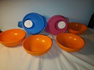 TUPPERWARE CRYSTALWAVE 2pc Mugs plus 4 Cereal Bowls Lot