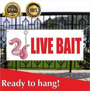 Details about Live Bait Banner Vinyl /Mesh Banner Sign Fishing Lure Tackle  Fisherman Bait Shop