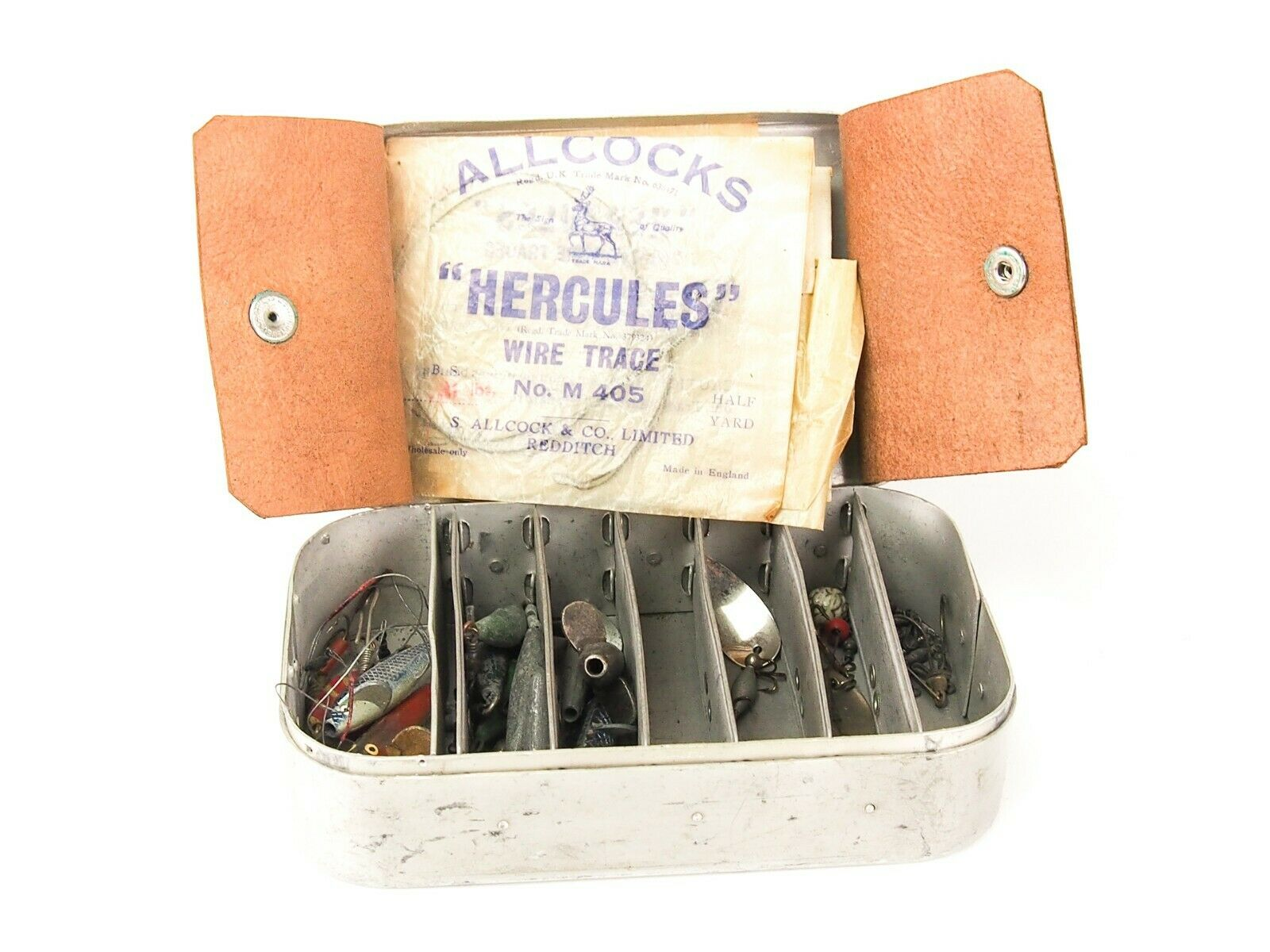 WHEATLEY ALLOY LURE BOX c w SELECTION  HARDY LURES   WYE LEADS ETC.