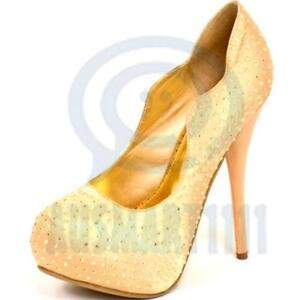 22eea1cc9bc2 Image is loading Women-Champagne-Stud-Pump-Platform-Party-Stiletto-High-