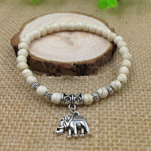 Fashion-Natural-White-Turquoise-Beads-6mm-Tibet-Silver-Elephant-Charm-Bracelet