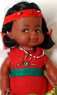 Native American 8 inch doll Seamed Plastic Rubber Head Glass Beads Hong Kong