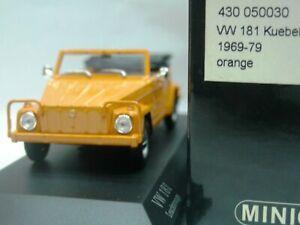 Wow extrêmement rare Vw 181 Kubelwagen Cabriolet Orange 1969 1:43 Minichamps 4012138070820