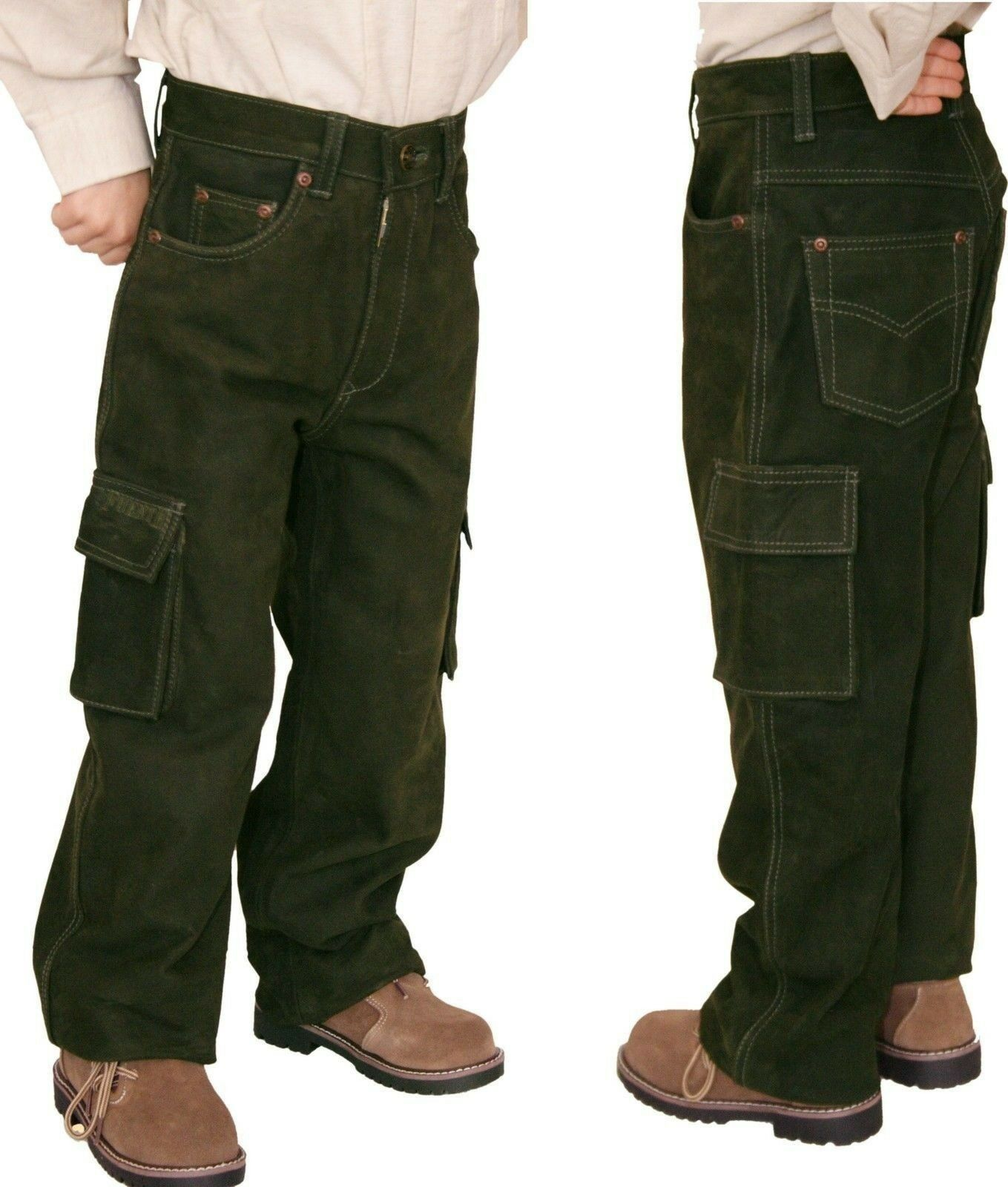 Lederhose Kinder Jagdhose Outdoorhose Buff-Nubuk mit Beintasche + Regulator