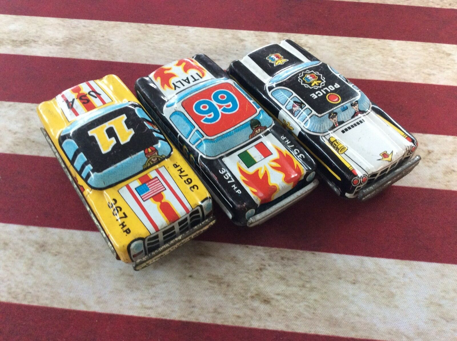 Vintage Tin Toy Car Lot Of 3   66 USA 11 & Police Car