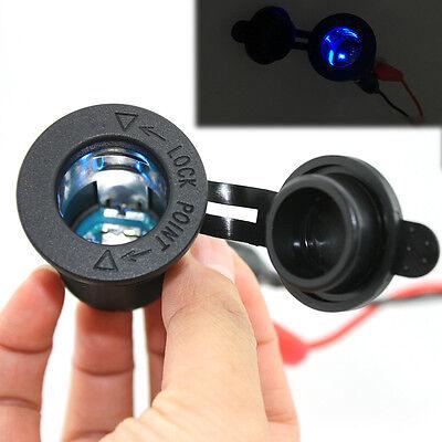 Motorcycle Car Cigarette Lighter Power Socket Plug Outlet  Blue LED 12V New