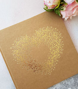 Details About Guest Book Wedding Personalized Box Gold Kraft With Heart Print Show Original Title