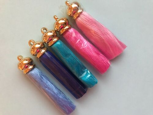 Colourful Tassels x 2 with Gold detailing Tassel 7CM **5 COLOURS***