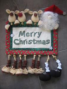 Handmade-Whimsical-Christmas-Reindeer-amp-Santa-Wall-Hanging-Sewing-Craft-doll
