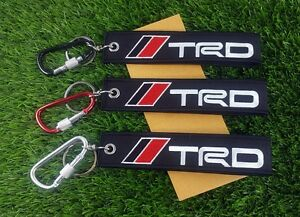 TRD logo D RING KEYCHAIN KEY STRAP Embroidery FABRIC HOLDER ALUMINUM CARABINER