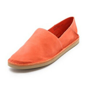 15483eebf047 VINCE Kia Smoking Flats Loafers ORANGE Sz 9 Slip On Shoes LEATHER ...