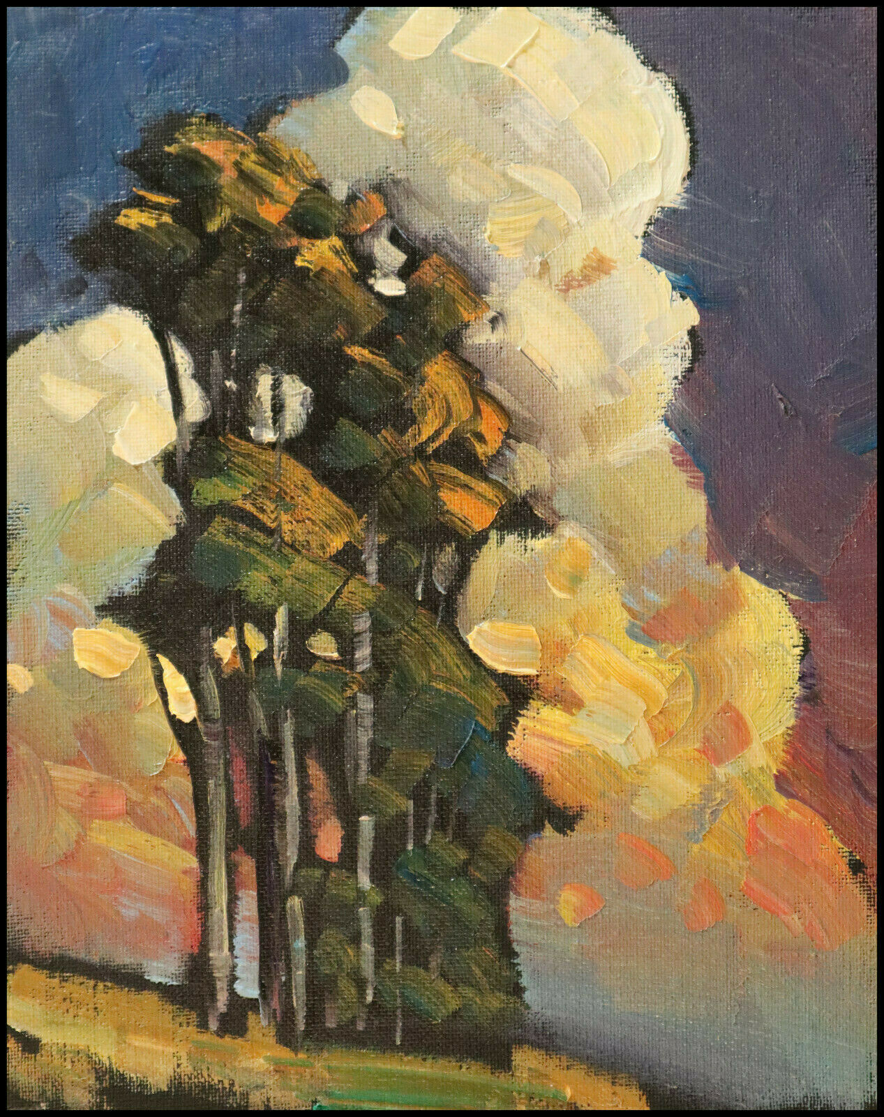 Wm HAWKINS  Original  Clouds Landscape Impressionism Tree Study Oil Painting Art 2