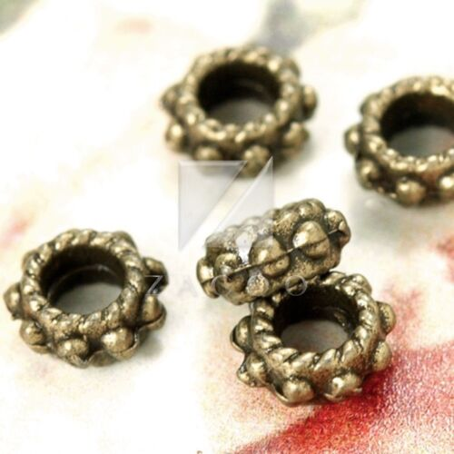 300pcs Antique Brass Spacer Bead Metal for Jewelry Making Round 6x6x3mm