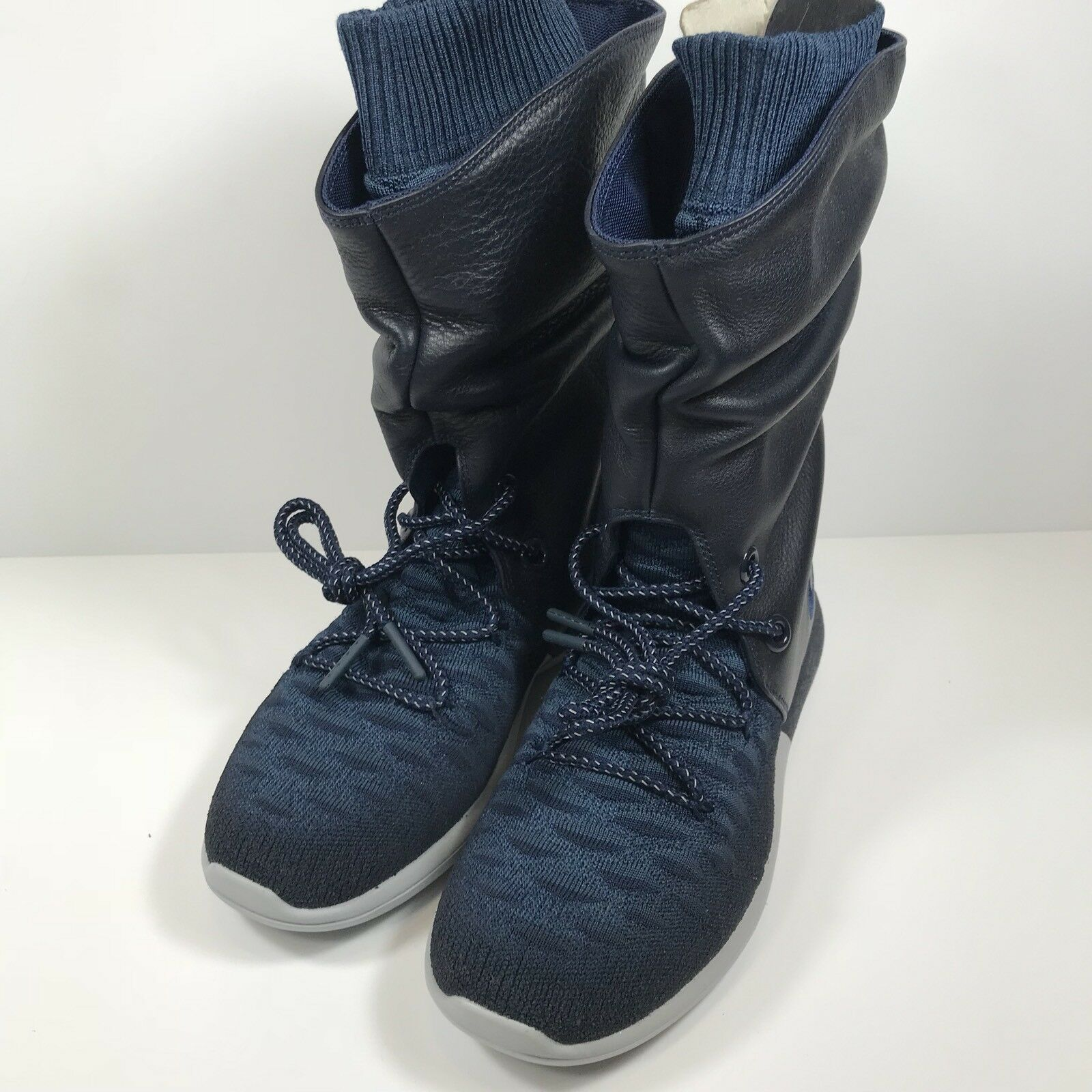 225 New Womens Nike Roshe Two Flyknit Hi Leather Boots Size 6 bluee 861708 400