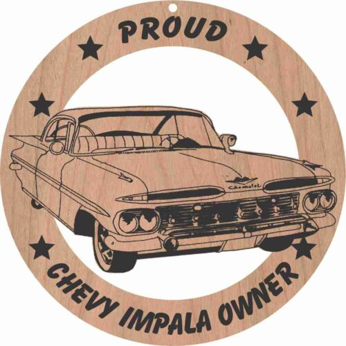 1959 Chevy Impala Hardtop Wood Ornament Laser Engraved