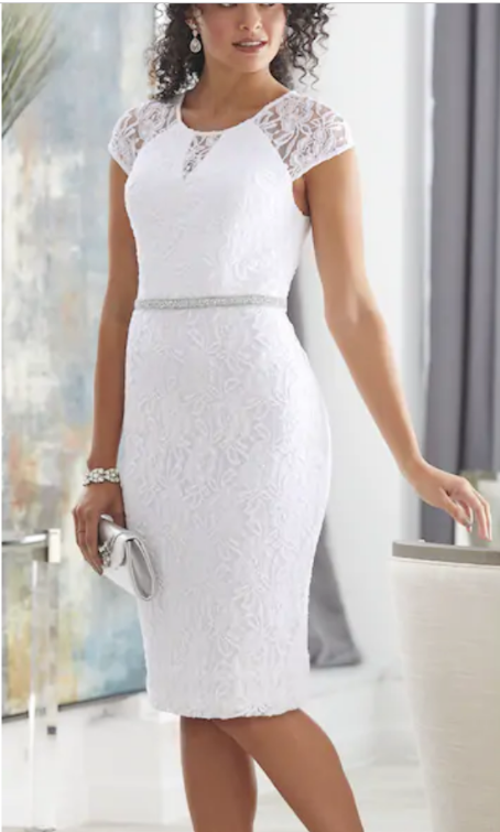 19a10a52d Ashro White Formal Rhinestone Embellished Rebecca Dress Wedding 16 16W 18W  20W