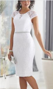 dbd68139f260 Image is loading Ashro-White-Formal-Lace-Rhinestone-Embellished-Rebecca- Dress-