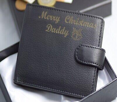 Mens Personalised Engraved Leather Card Wallet dad boyfriend gift grandad men