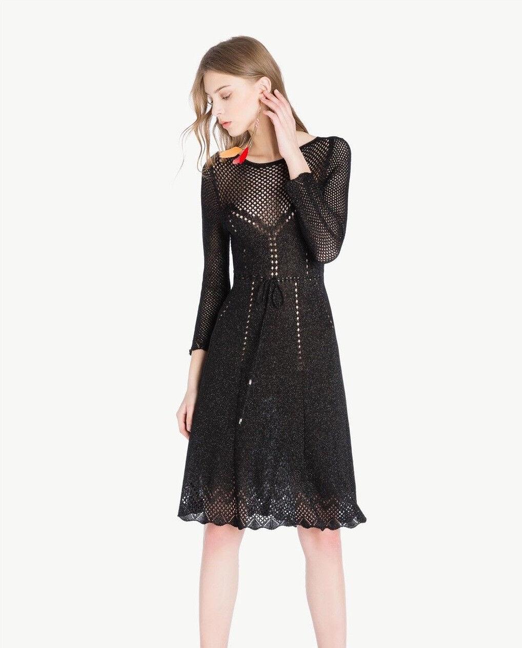 TWINSET NEU Kleid mit Lurex Gr.L black black  Lochmuster  Barbieri Milano