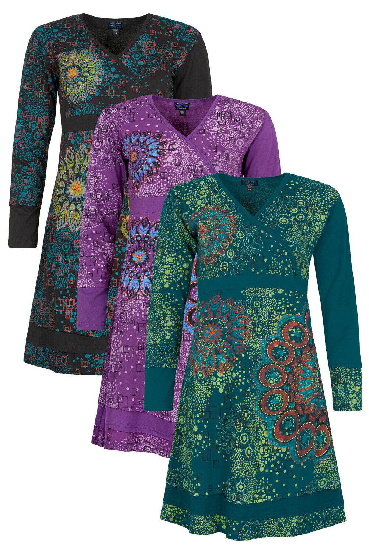 New Long Sleeve Autumn Winter Mandala Boho Dress up to Plus Size