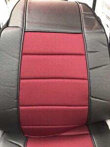 Seat-Cover-w-Pocket-Black-BurgundyFaux-Leather-Peterbilt-Freightliner-Semi-Truck