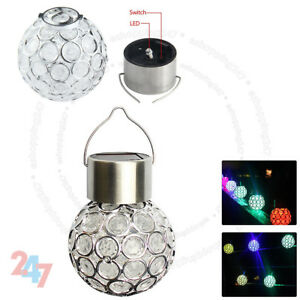 Retro LED Solar Hanging Light Hollow Metal Lantern Outdoor Garden Decor Lamp UK