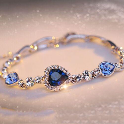 Ocean Blue autrichien cristal strass amour cœur Bracelet Jonc Femme Bijoux