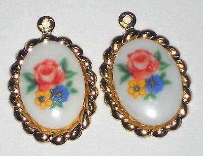 Vintage Limoges Charms Connectors Flowers Floral Oval Gold Roses rose NOS #1106c