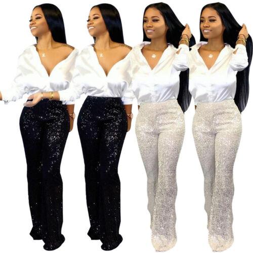 Mujer Lentejuelas Acampanados Cintura Alta Pantalones Elástico Palazzo Ancha De