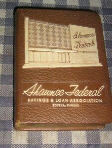 Vintage-Coin-Book-Bank-Shawnee-Federal-Savings-amp-Loan-Safe-Topeka-Kansas