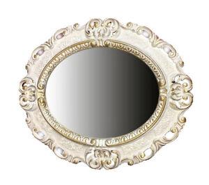 Honest Espejo De Pared Oro Blanco Ovalado 45x38 Barroca Antiguo Reproducción Vintage Espejos