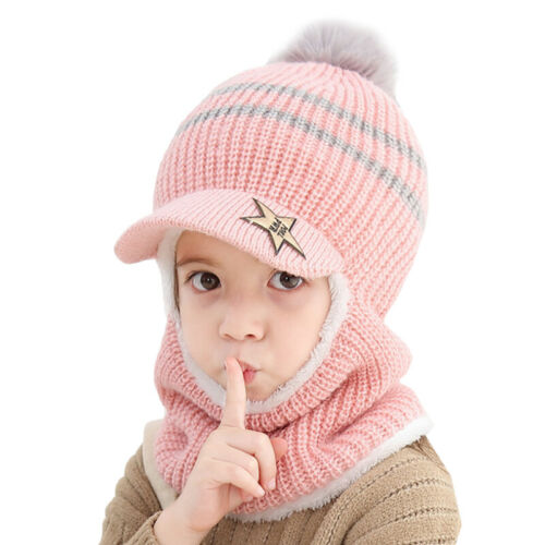 Toddler Baby Kids Beanie Hat Boy Girl Winter Warm Knitted Crochet Cap Scarf Sets