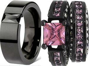 Black And Pink Wedding Ring Sets | Size 5 15 Black Wedding Engagement Ring Set Pair Princess Cut Pink