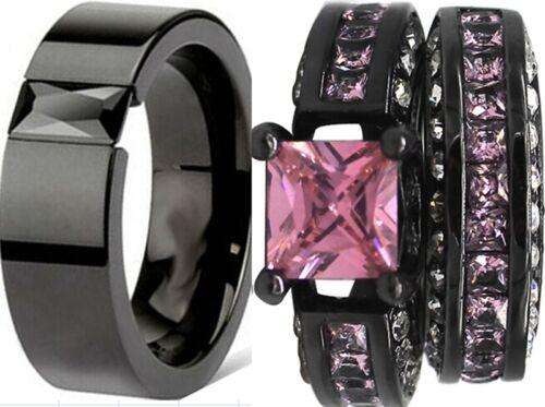 Size 5-15 Black Wedding Engagement Ring Set Pair Princess Cut Pink Bridal Halo
