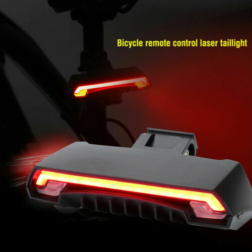 Bike Taillight Rechargeable Remote Control Warning Turn Signal Laser Light