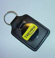 Triumph Motorcycle, Leather Stiched Key Tag, Key Fob, Yellow On Black, Uk Made