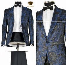 *429* Hochzeitsanzug 6-teiliger Smoking Herrenanzug Anzug in Schwarz Blau Gr.48