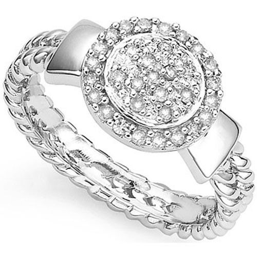Lovely Ladies Ring W//0.18ctw Genuine Diamond in 925 Sterling Silver