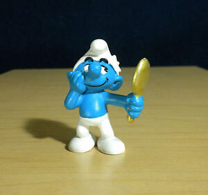 Smurfs-20537-Classic-Vanity-Smurf-Gold-Mirror-Vintage-Figure-PVC-Toy-Figurine