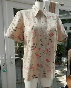 SHIRT-BY-RIDDELLA-SIZE-14-IN-FLORAL-BEIGE-EXACT-MATCH-FOR-TROUSERS-372063216979