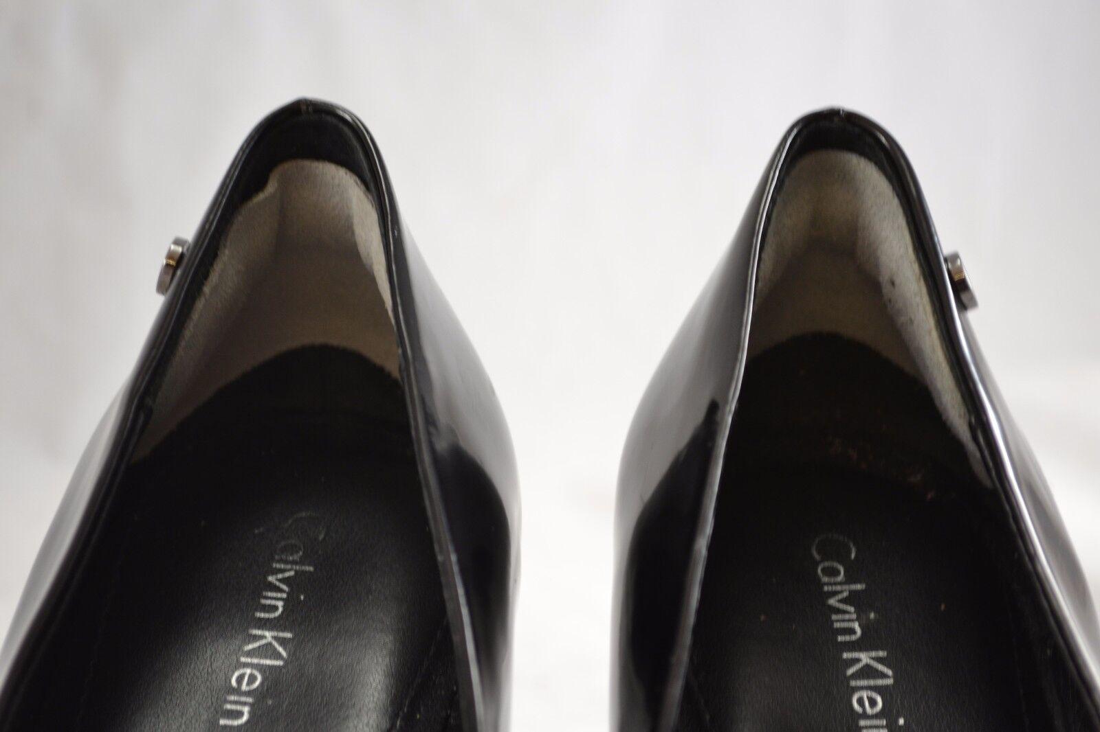 CALVIN KLEIN schwarz patent Größe peep toe heels schuhe Größe patent 39.5 (US Größe 9) a8d4ba