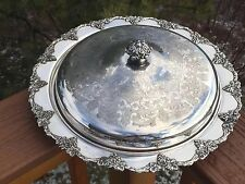 """Silverplate Covered Dish Old English Reproduction 13 1/2"""" VINTAGE Pattern Grapes"""