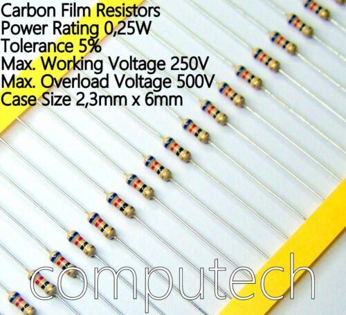 Resistenze a film di carbonio 240R 0,25W 25 pezzi Resistenze 240 Ohm 1//4W 5 /%