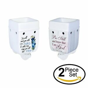 2-Pc-Set-Refuge-Under-His-Wings-Be-Still-Ceramic-Plug-In-Tart-Wax-Warmers