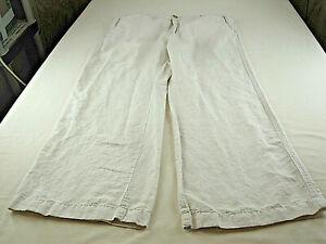 Banana Republic Linen Blend Wide Leg Pants 14 [ 36in W 29L ] 4  Pockets]