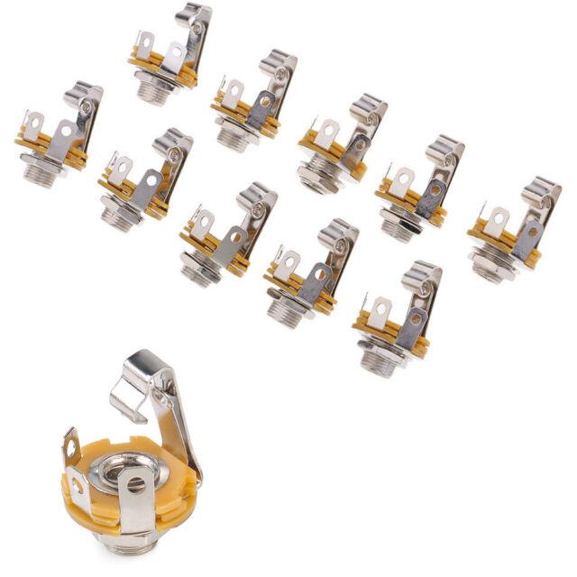 10x 6 35mm 1 4 inch mono audio socket jack female connector panel wiring 1 4 phone plugs 10x 6 35mm 1 4 inch mono audio socket jack female connector panel mount solder